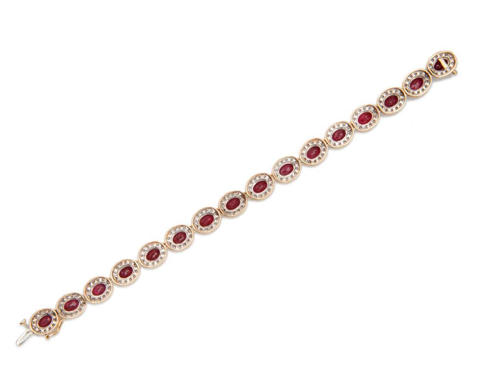 14K Gold, Ruby, and Diamond Bracelet