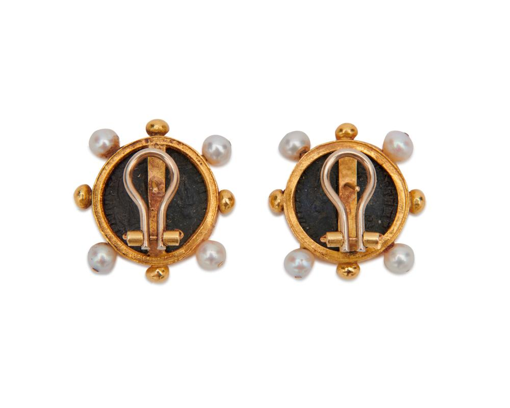 18K Gold, Coin, and Pearl Earrings