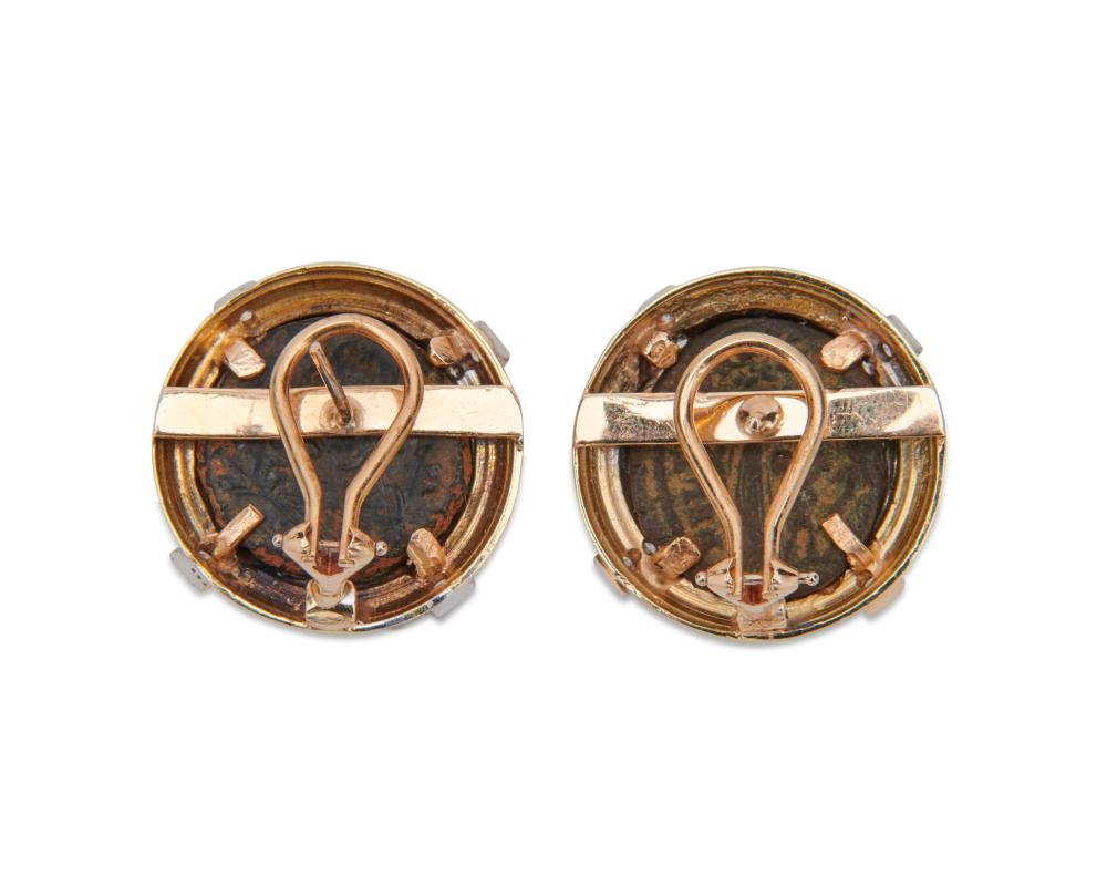 18K Gold, Coin, and Diamond Earrings