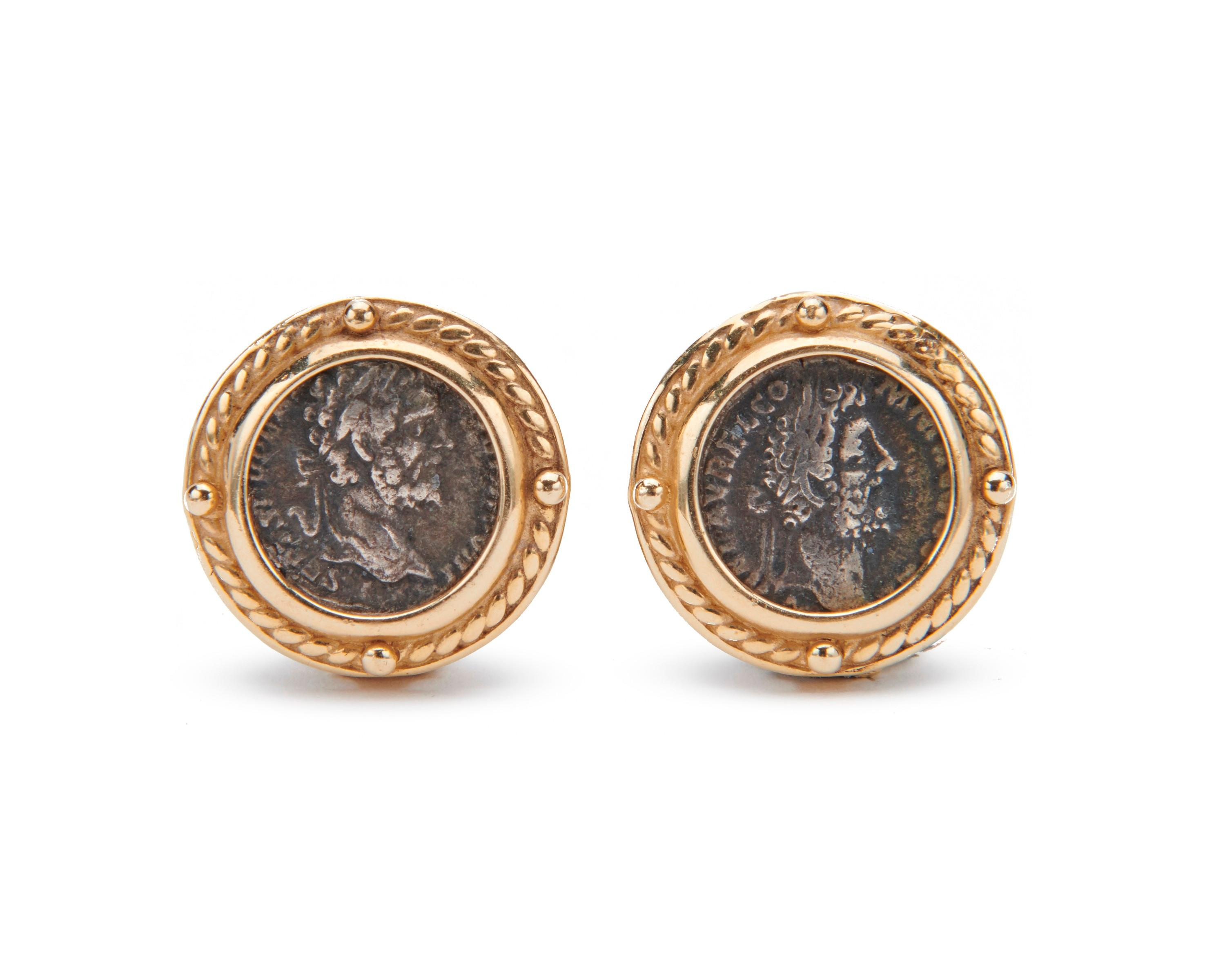 14K Gold and Coin Earrings