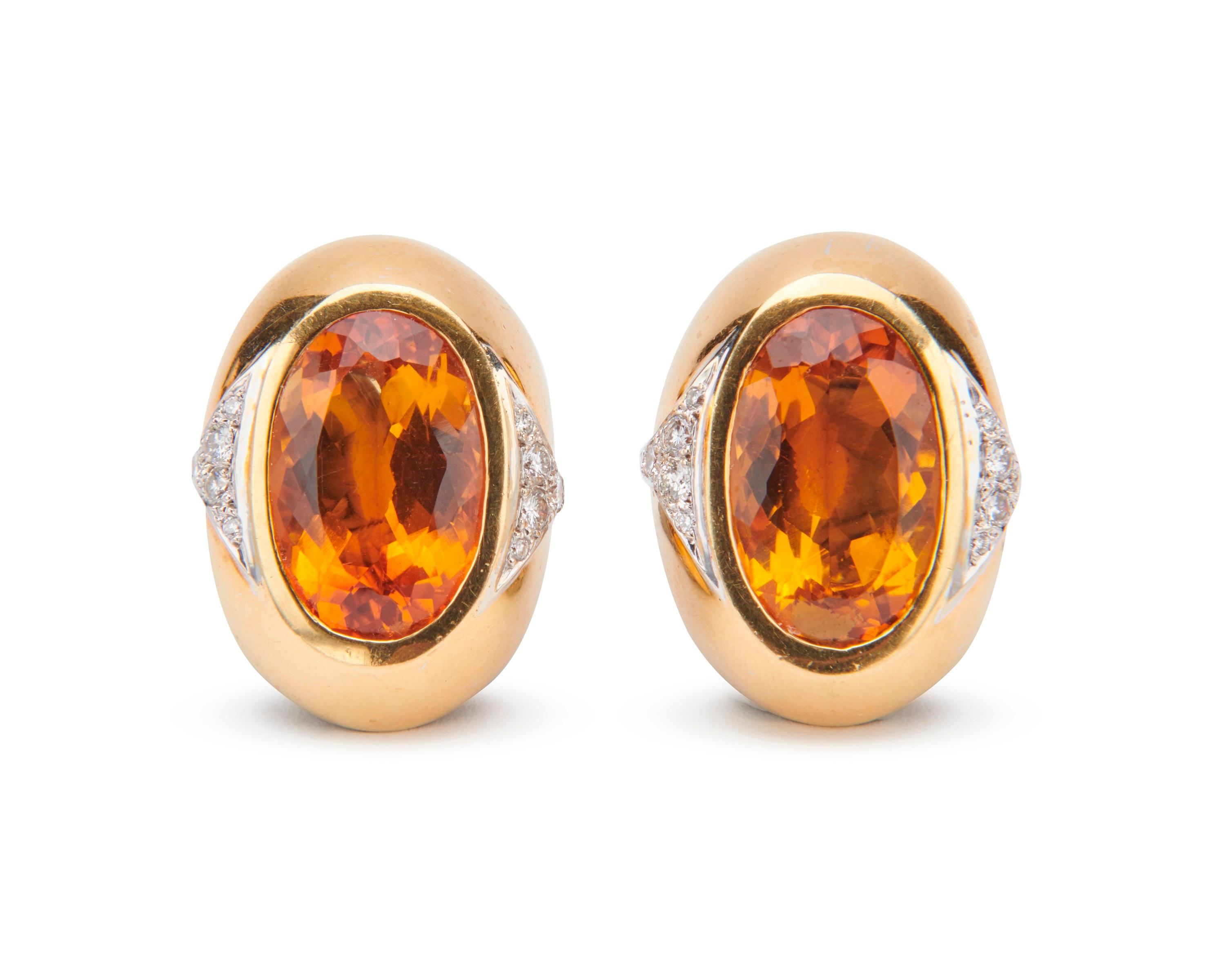 18K Gold, Citrine, and Diamond Earclips