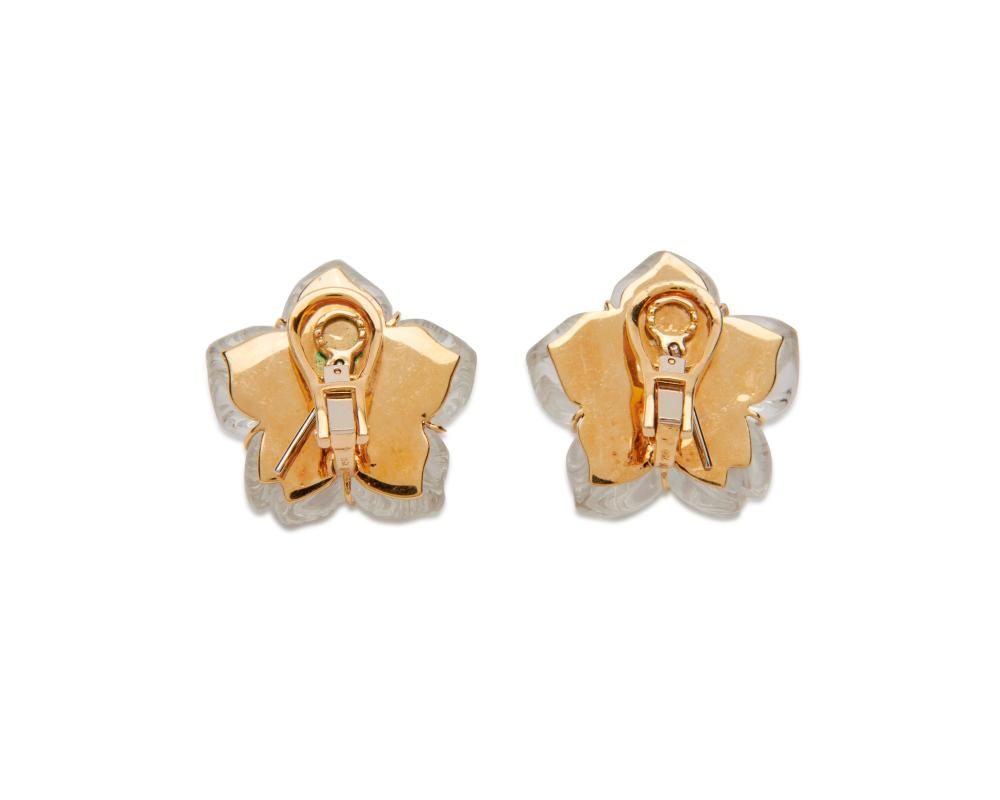 18K Gold, Carved Rock Crystal, Diamond, and Sapphire Earclips