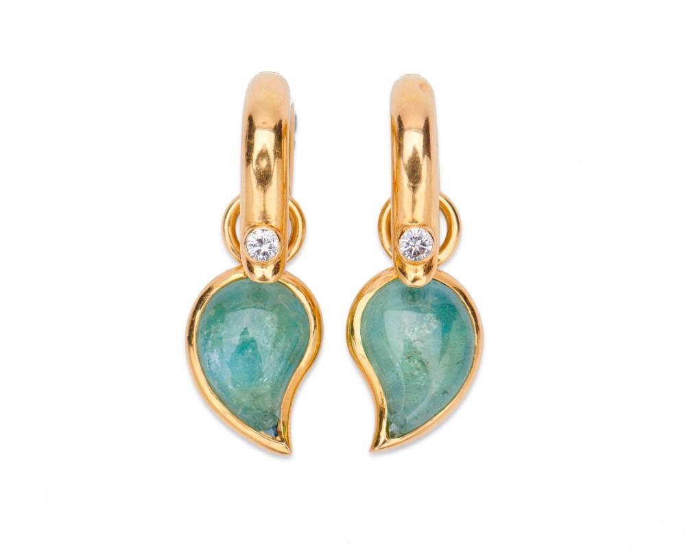 18K Gold and Gemset Aquamarine Pendant Earrings
