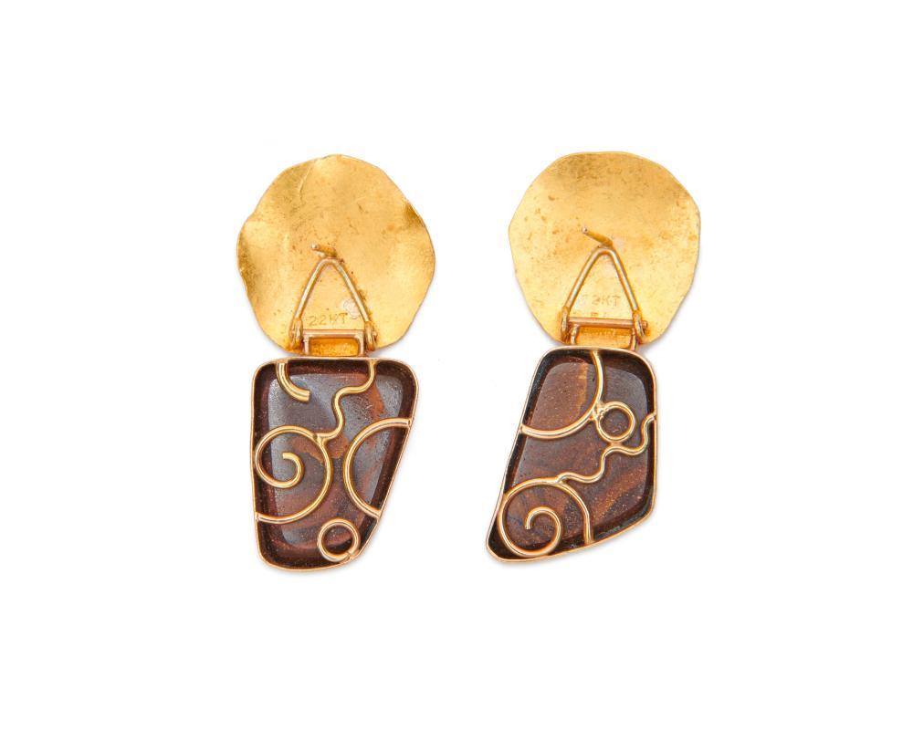 SAM SHAW 22K Gold and Opal Pendant Earrings