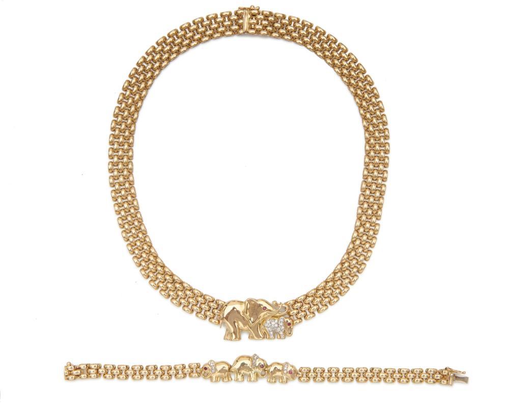 14K Gold, Diamond, and Ruby Necklace and Bracelet