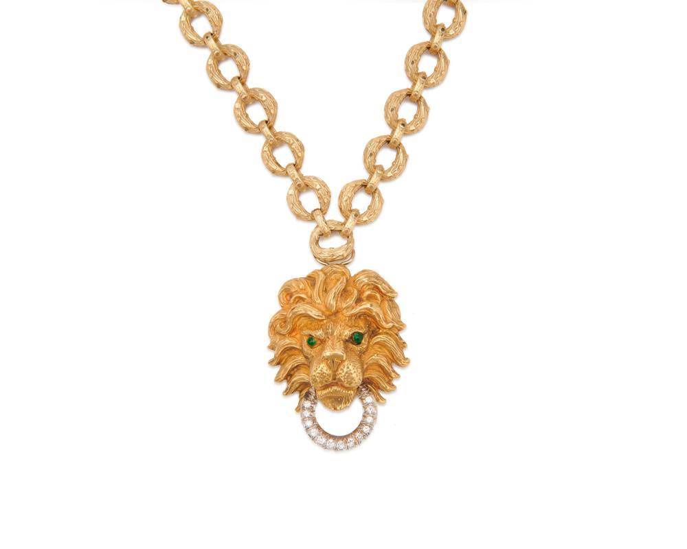 18K Gold and Diamond Lion''s Head Pendant/Brooch Necklace/Bracelet