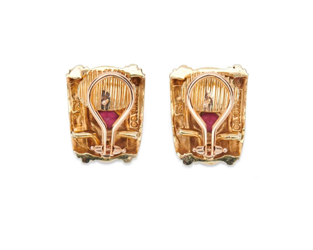 DAVID YURMAN 14K Gold and Gemset Earclips
