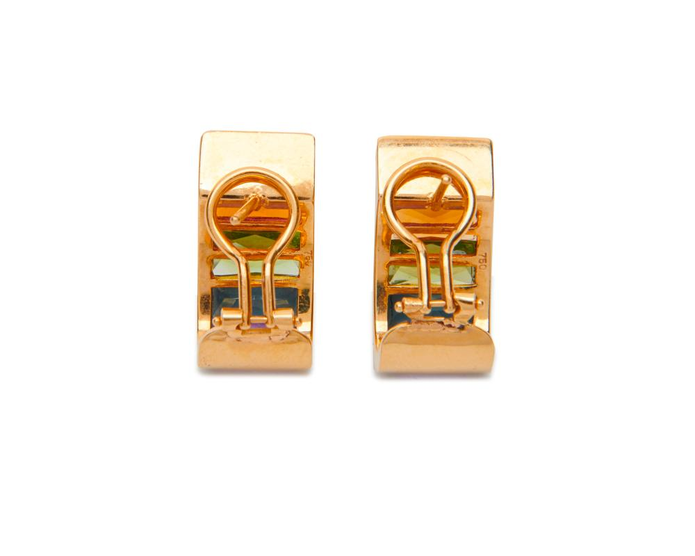 18K Gold and Gemset Earclips