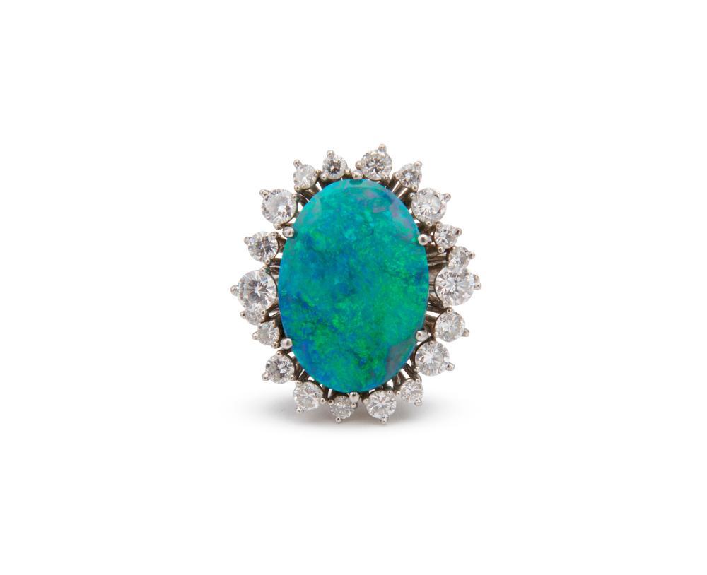 TONI CAVELTI 18K Gold, Opal, and Diamond Ring