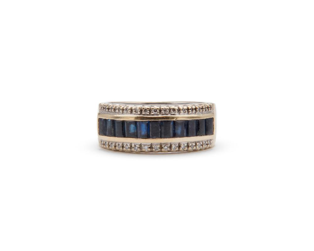 18K Gold, Sapphire, and Diamond Ring