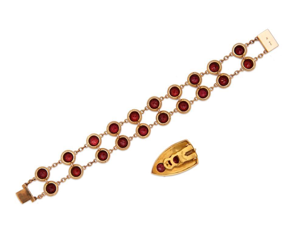14K Gold and Garnet Bracelet and Clip