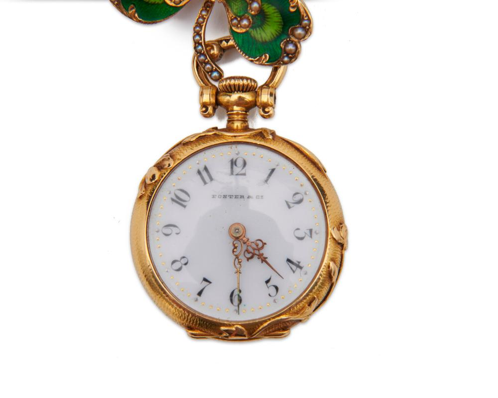 FOSTER & CO. 18K Gold, Diamond, and Enamel Lapel Watch