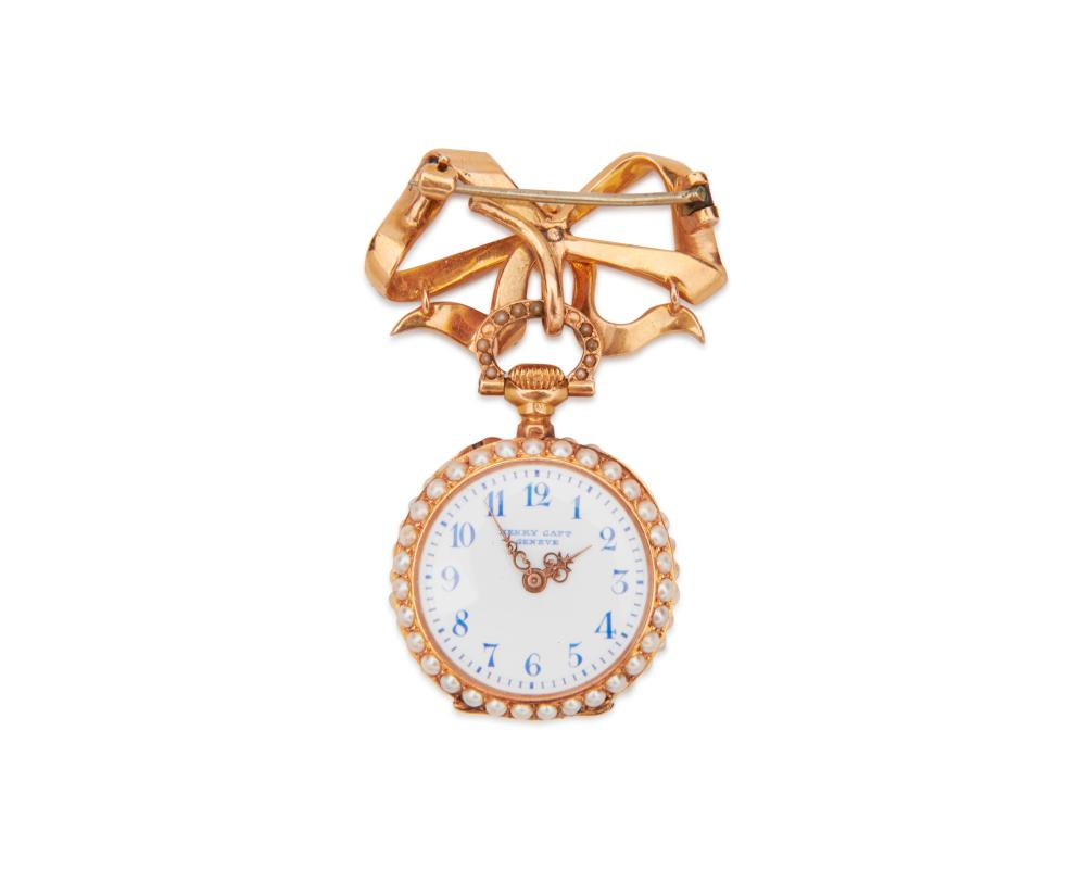 HENRY CAPT 18K Gold, Diamond, and Seed Pearl Lapel Watch
