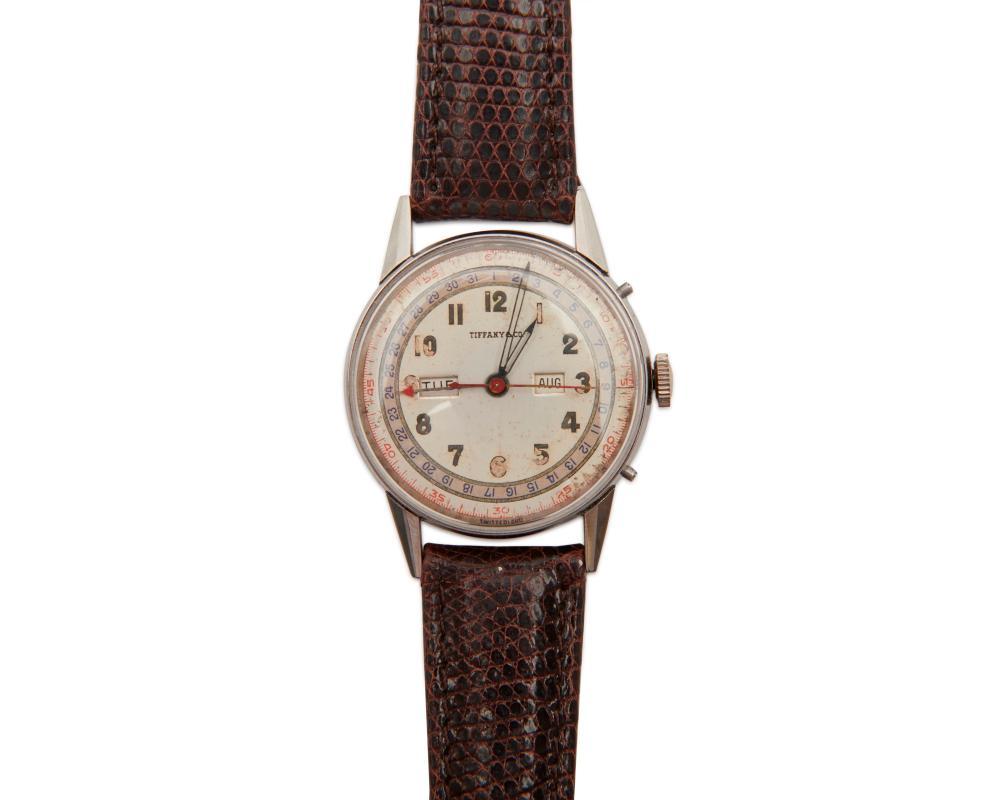 TIFFANY & CO., MOVADO Stainless Steel Triple Calendar Wristwatch