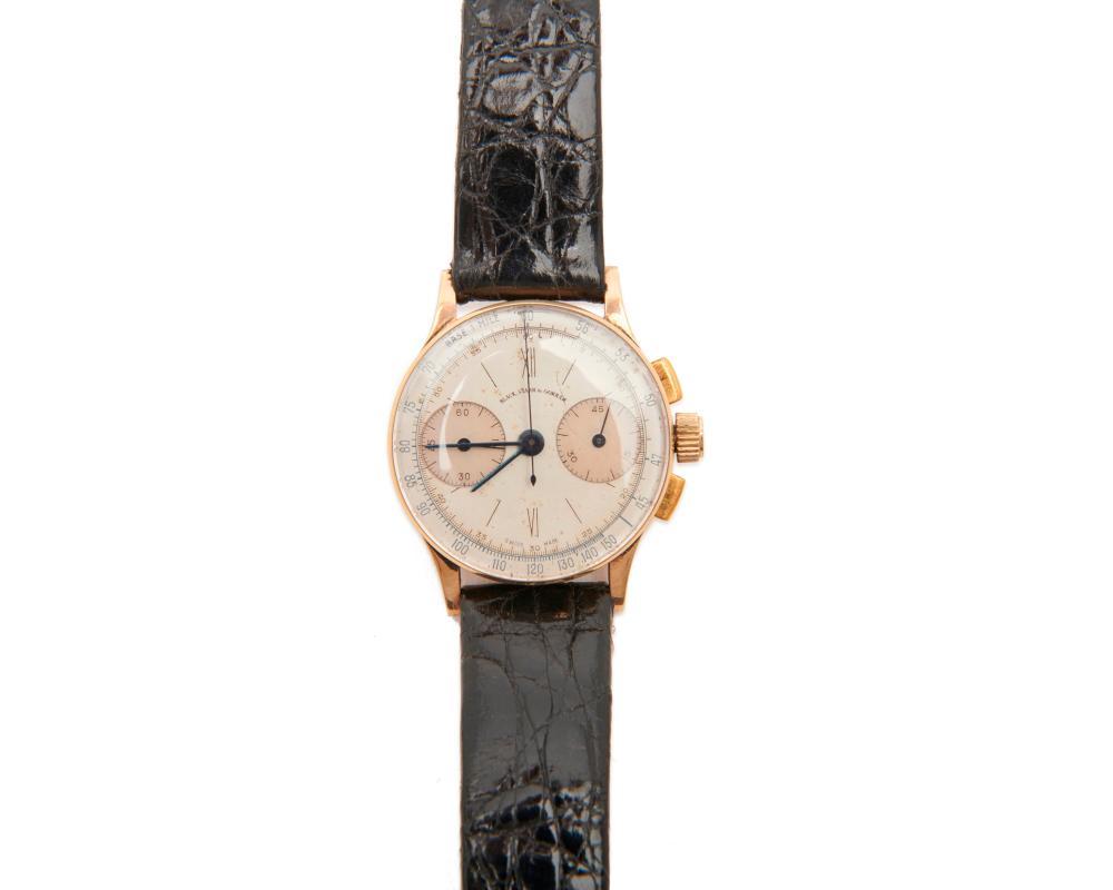 BLACK, STARR & GORHAM, GIRARD PERREGAUX 14K Gold Chronograph Wristwatch