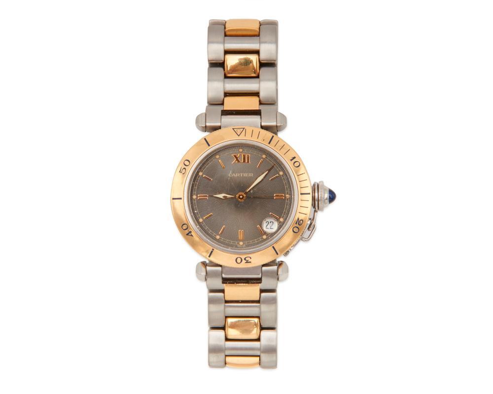 "CARTIER Stainless Steel and 18K Gold ""Pasha de Cartier"" Wristwatch"