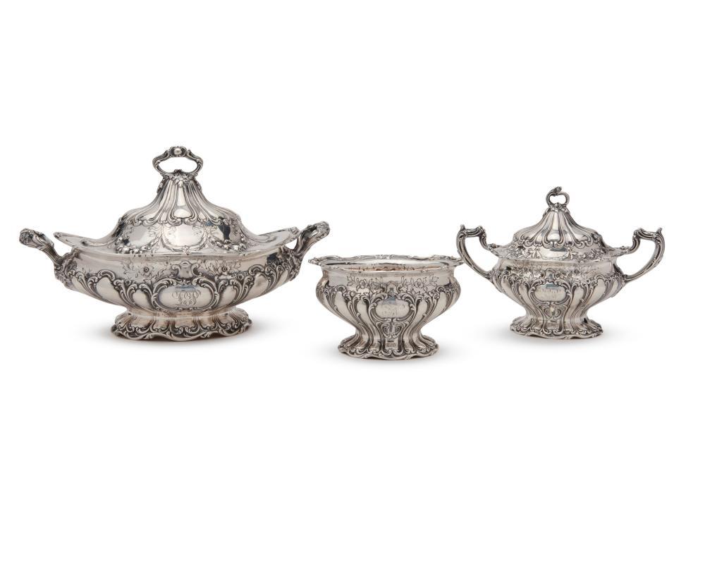 GORHAM Silver Seven Piece Coffee and Tea Service, Chantilly Grande pattern