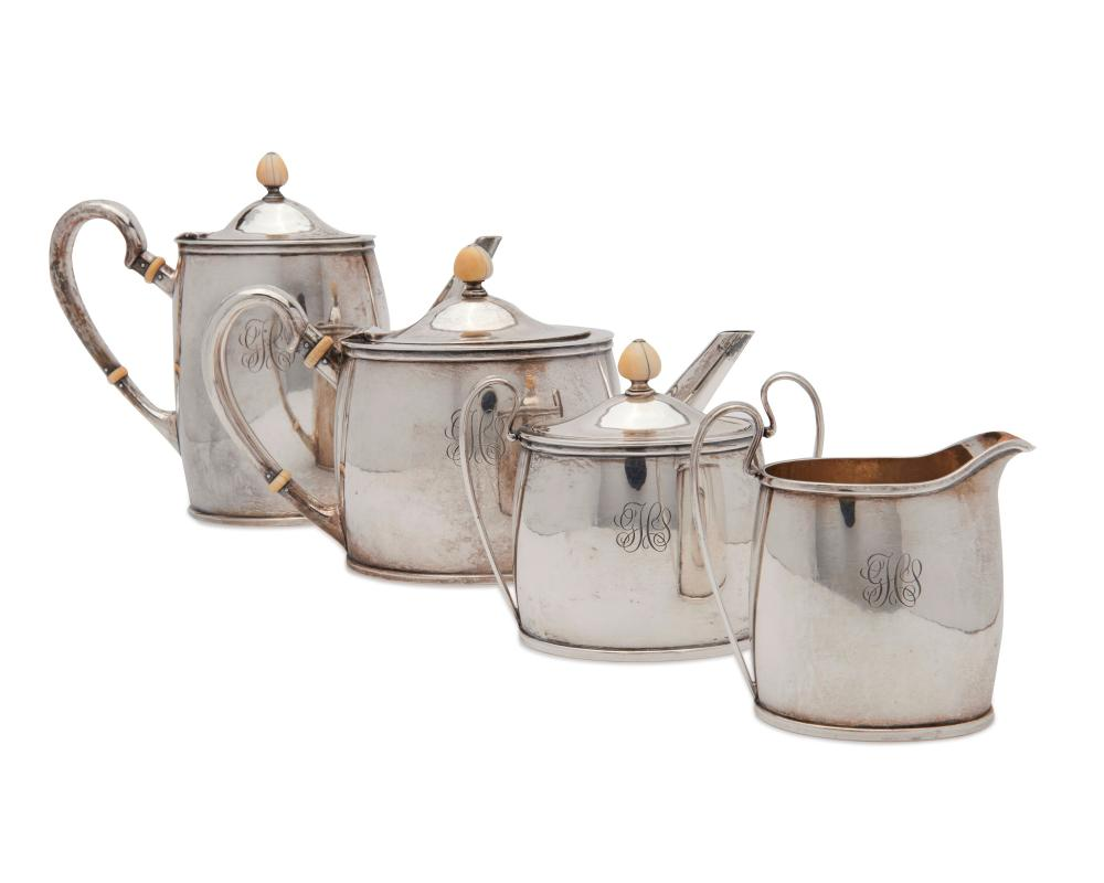 ARTHUR STONE Silver Four Piece Coffee and Tea Service, together with Four ARTHUR STONE Square Silver Dishes and a GLENDENNING Silver Square Dish