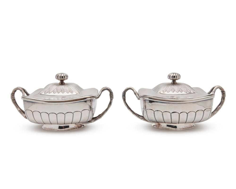 Pair of GORHAM Silver Covered Two Handled Dishes, ca. 1883
