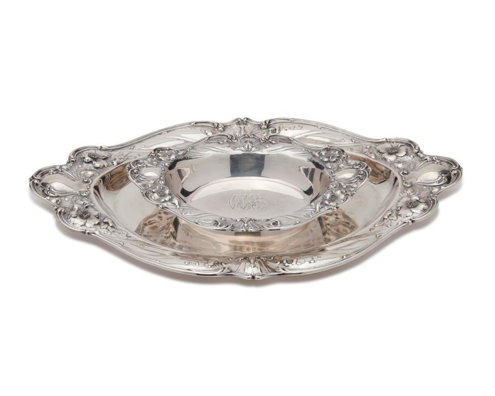 Two REED & BARTON Art Nouveau Silver Oval Platters