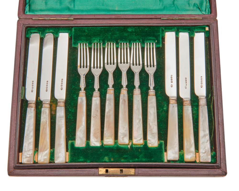 SHEFFIELD Silver and Mother of Pearl Twenty Four Piece Fish Set, ca. 1856