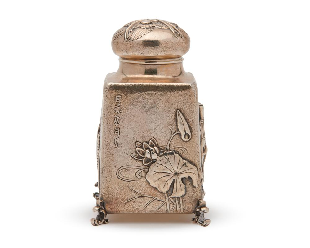ROGER WILLIAMS SILVER CO., Providence, R.I., Japanesque Silver Rectangular Footed Tea Caddy, A. Stowell & Co, retailer, ca. 1880