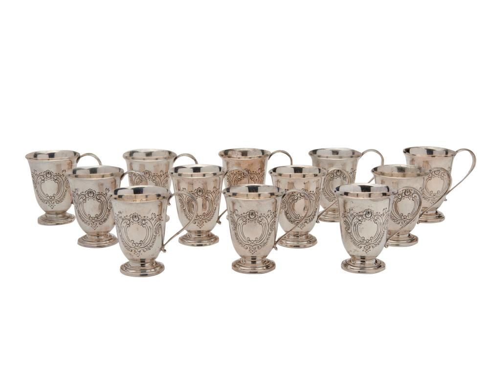 REED & BARTON Silver Punch Bowl, Tray, and Twelve Cups