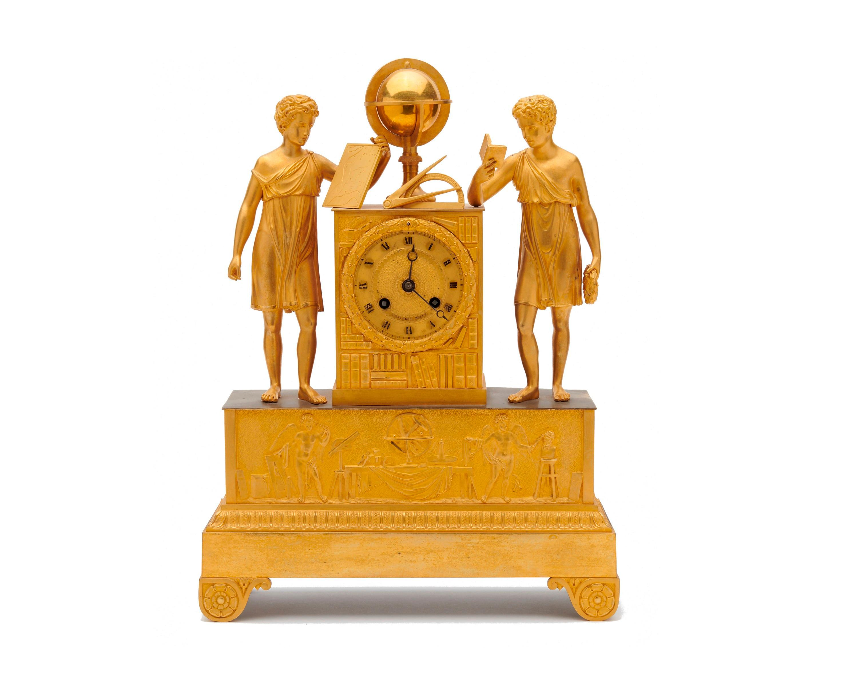 Neoclassical Gilt Bronze Figural Mantel Clock, Brothers Melly, 19th century