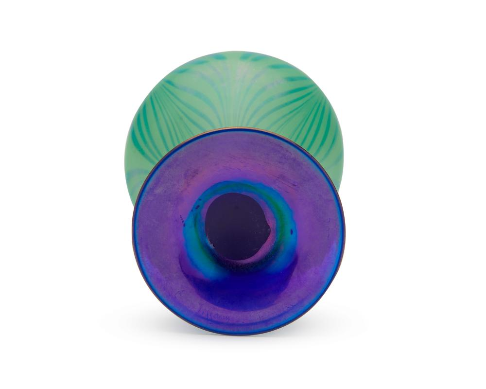 LOUIS COMFORT TIFFANY Green and Blue Favrile Glass Vase