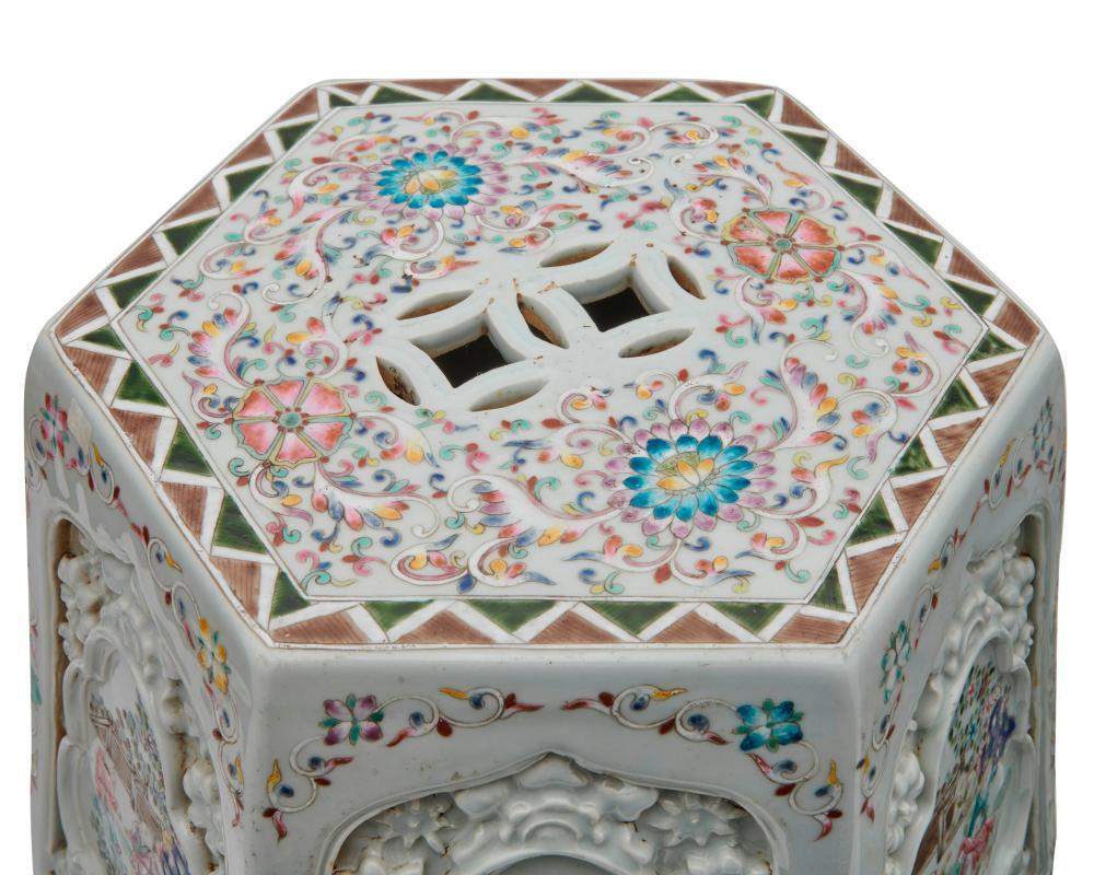 Pair of Chinese White Ground Famille Rose Hexagonal Garden Seats