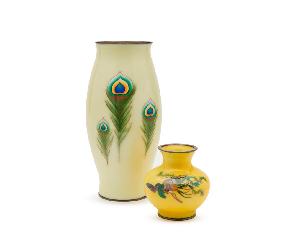 Two Japanese Yellow Ground Cloisonne Vases, possibly by the Ando Cloisonne Company, ca. 1900