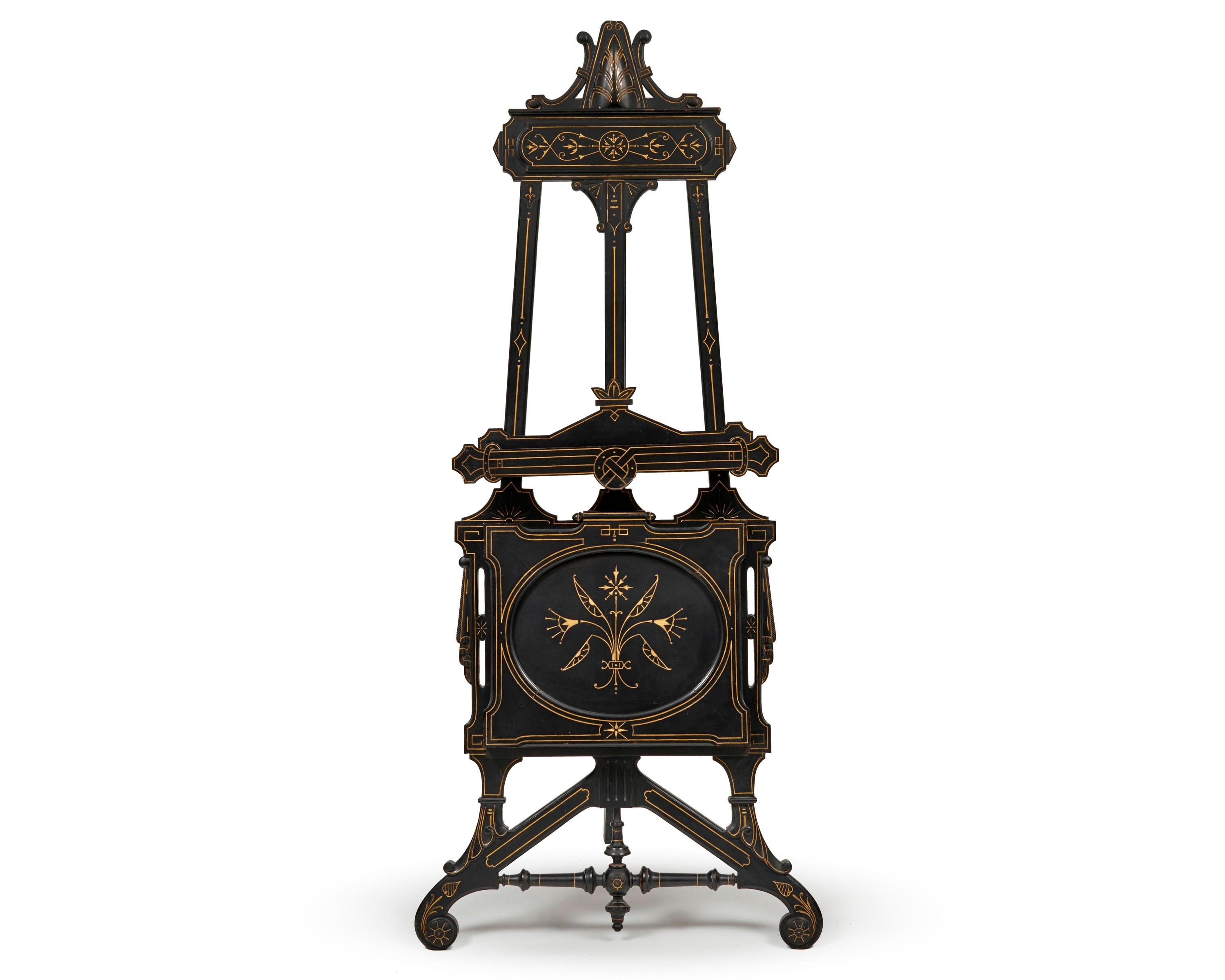 Victorian Carved and Gilt Decorated Ebonized Adjustable Easel, ca. 1870