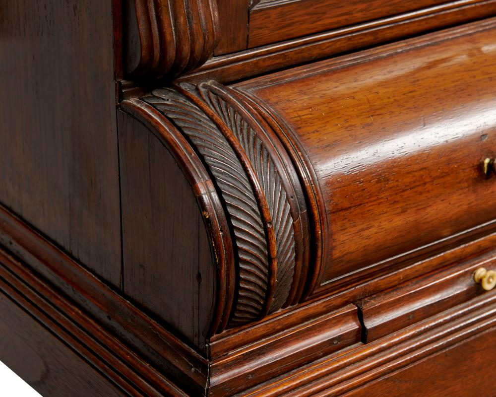 American Carved and Inlaid Ebony and Mahogany Clerks Cabinet on Stand, ca. 1815