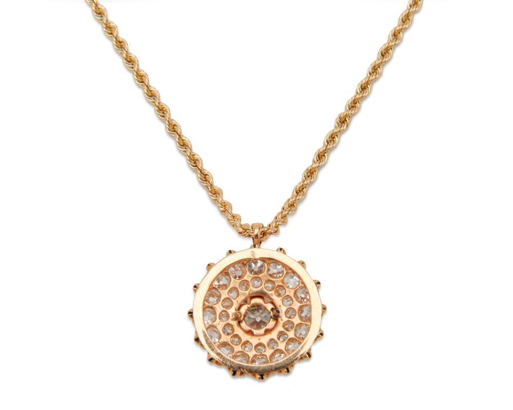 14K Gold, Diamond, and Enamel Pendant Necklace