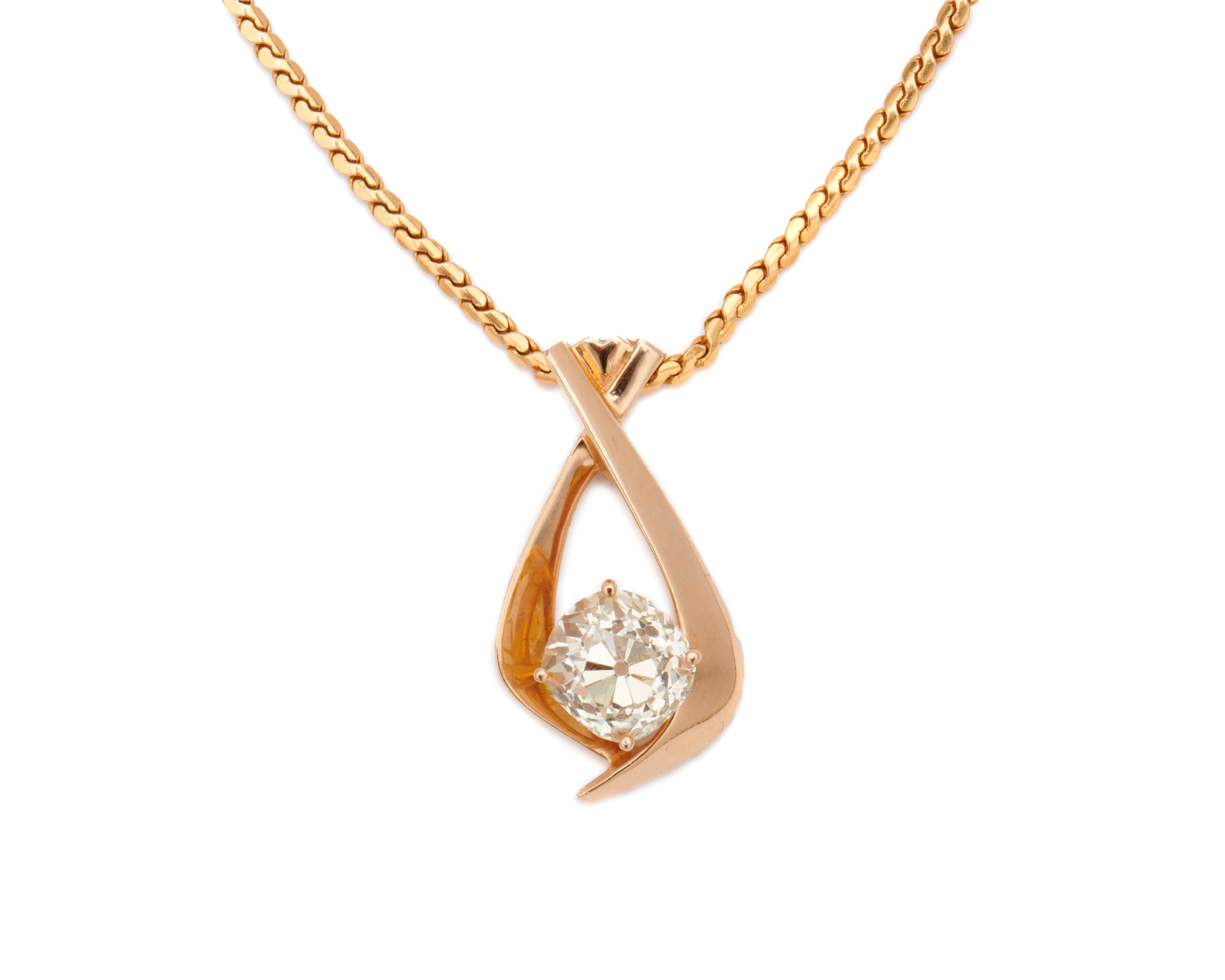 14K Gold and Diamond Pendant Necklace