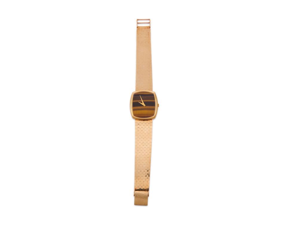 PIAGET 14K Gold and Tiger''s Eye Wristwatch