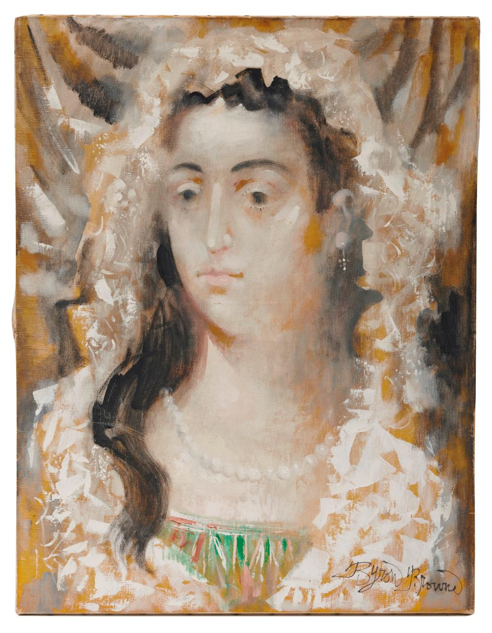 BYRON BROWNE, (American, 1907-1961), The Bride, 1960, oil on canvas, 26 x 20 in.