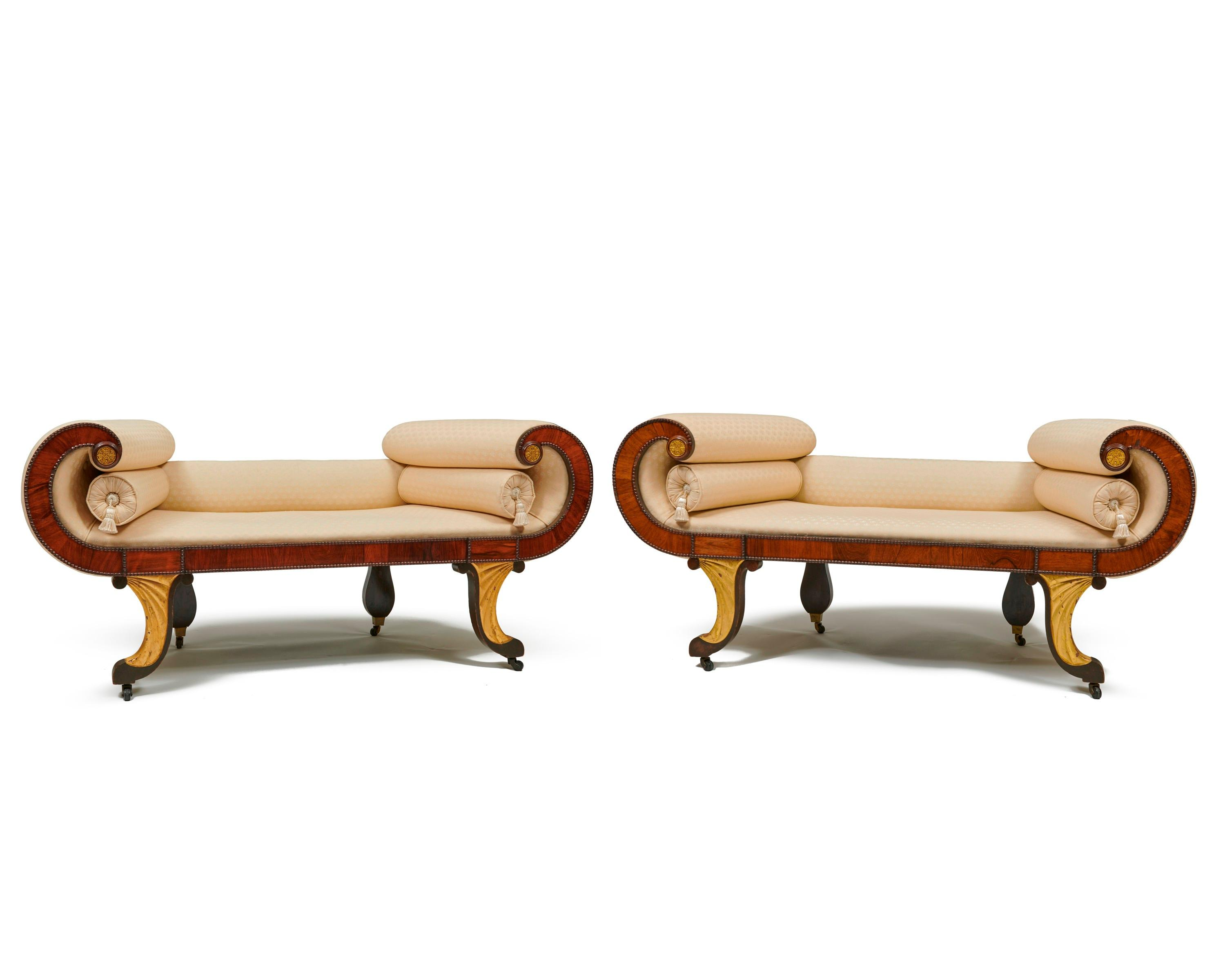 Pair of Classical Carved and Gilt Wood Conversation Benches, Roxbury, Massachusetts, ca. 1830