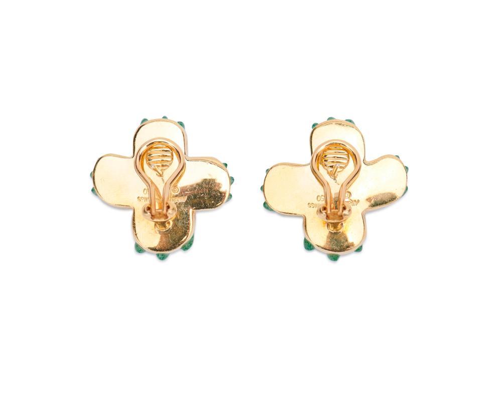 ANGELA CUMMINGS 18K Gold and Aventurine Quartz Earclips