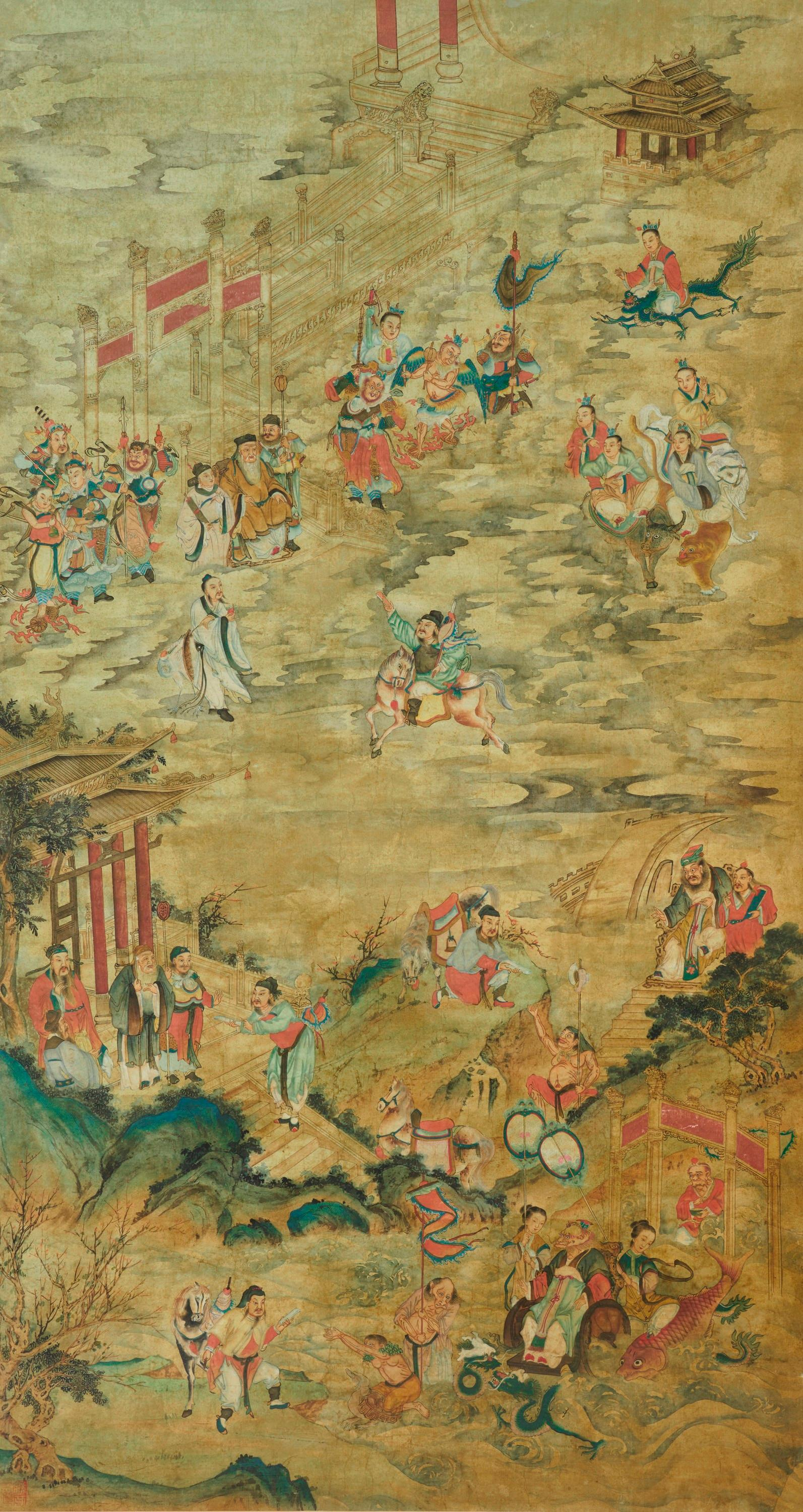 Ink and Watercolor Chinese Scroll depicting The Creation of The Gods (Fengshen Yanyi)