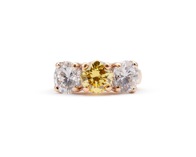 18K Gold, Colored Diamond, and Diamond Ring