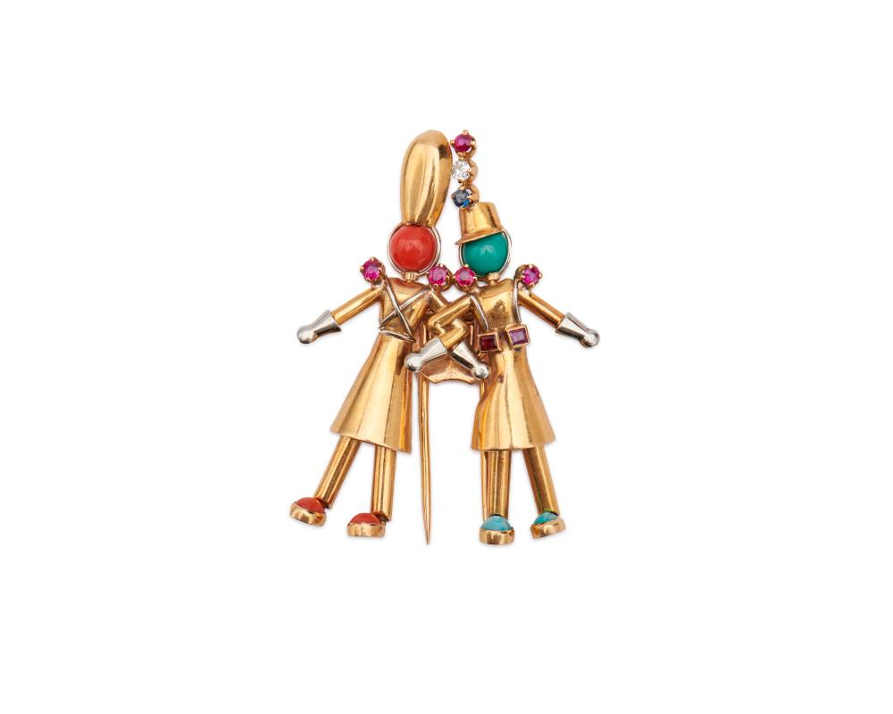 YAECHE FRERES 18K Gold, Diamond, Ruby, Sapphire, Coral, and Turquoise Figural Brooch