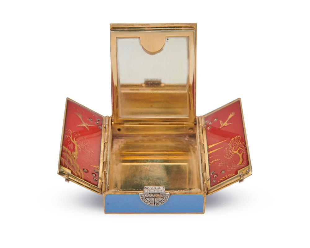 UDALL & BALLOU 14K Gold, Platinum, Diamond, and Enamel Compact