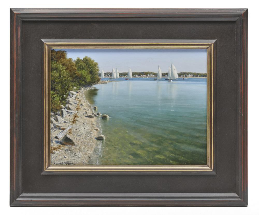 JOSEPH McGURL, (American, b. 1958), Boston Harbor Islands Project, Rounding The Point, oil on panel, 12 x 16 in., frame: 19 1/2 x 23 1/2 in.