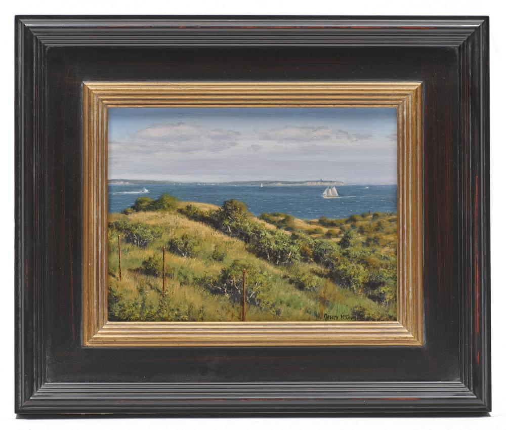 JOSEPH McGURL, (American, b. 1958), View of Vineyard Sound from Cuttyhunk, oil on canvasboard, 9 x 12 in., frame: 15 3/4 x 18 3/4 in.