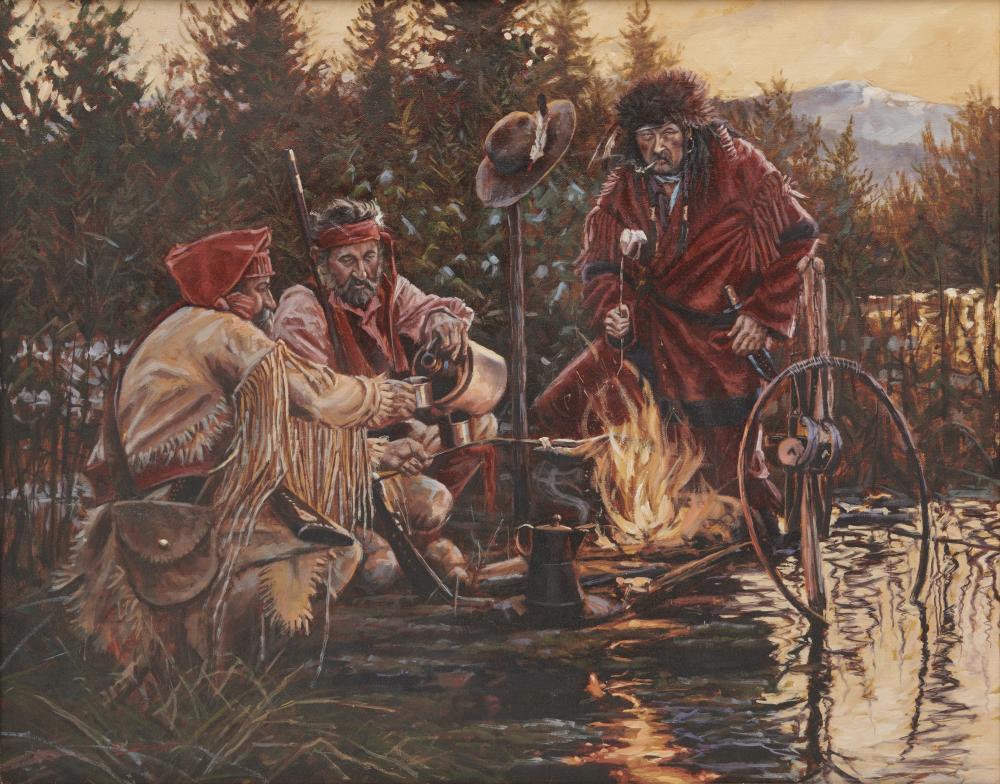 JOHN DeMOTT, (American, b. 1954), Beaver Men ''n Whiskey, oil on canvas, 24 x 30 in., frame: 33 x 39 in.