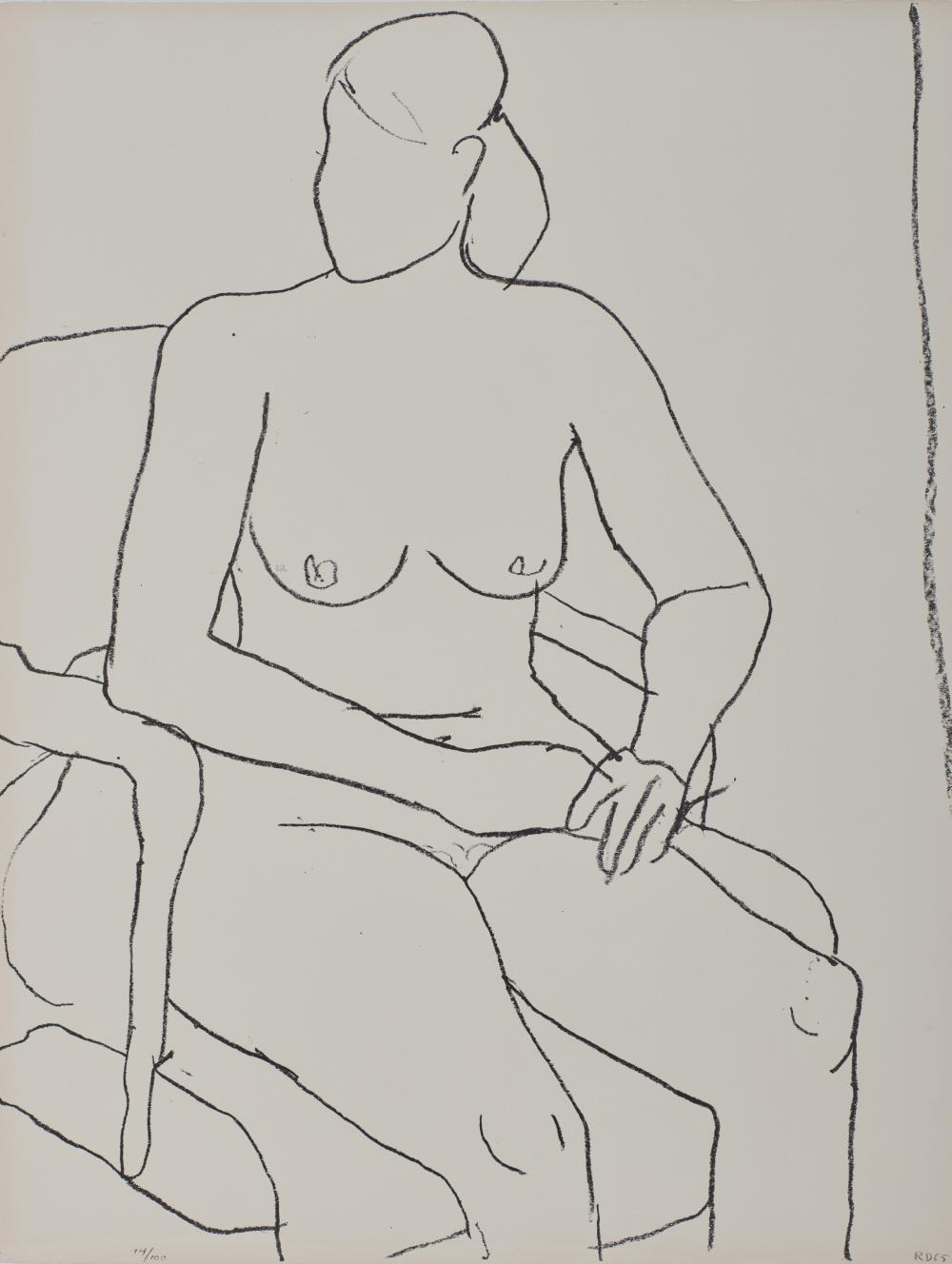 RICHARD DIEBENKORN, (American, 1922-1993), Seated Nude, 1965, lithograph, 26 1/4 x 20 1/8 in., frame: 29 x 23 in.