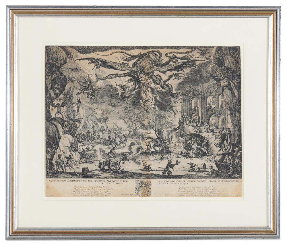 JACQUES CALLOT, (French, 1592-1635), Temptation of Saint Anthony, etching, sheet: 13 7/8 x 18 1/8 in., frame: 21 1/2 x 25 1/2 in.