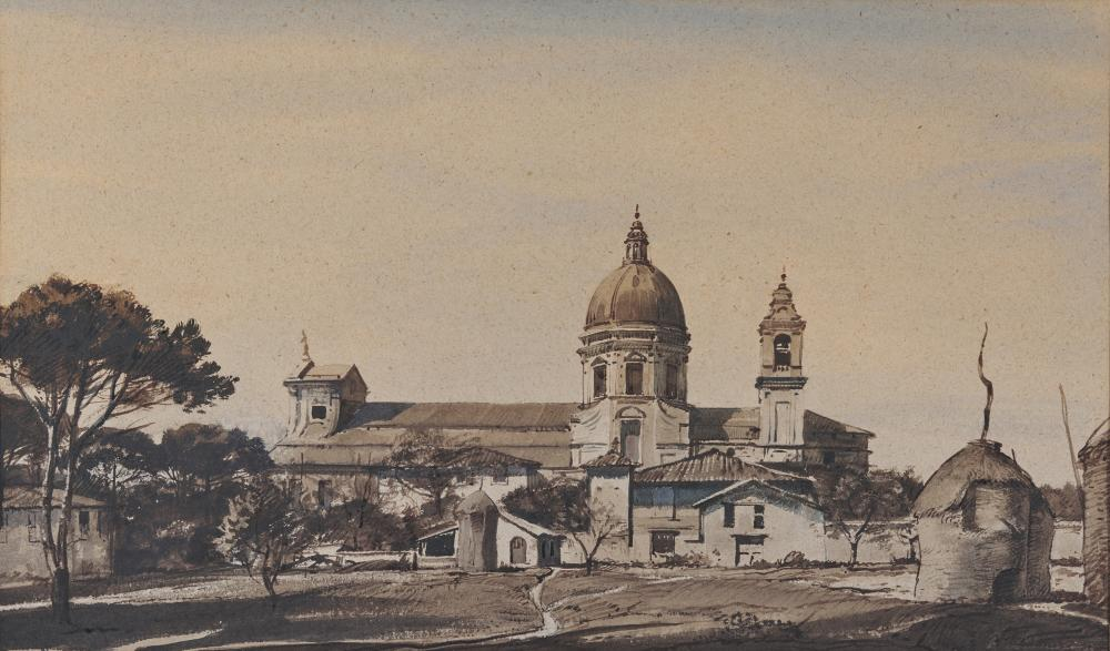 OGDEN MINTON PLEISSNER, (American, 1905-1983), Santa Maria degli Angeli, watercolor and ink wash, sight: 12 1/4 x 20 1/4 in., frame: 19 1/4 x 27 1/4 in.