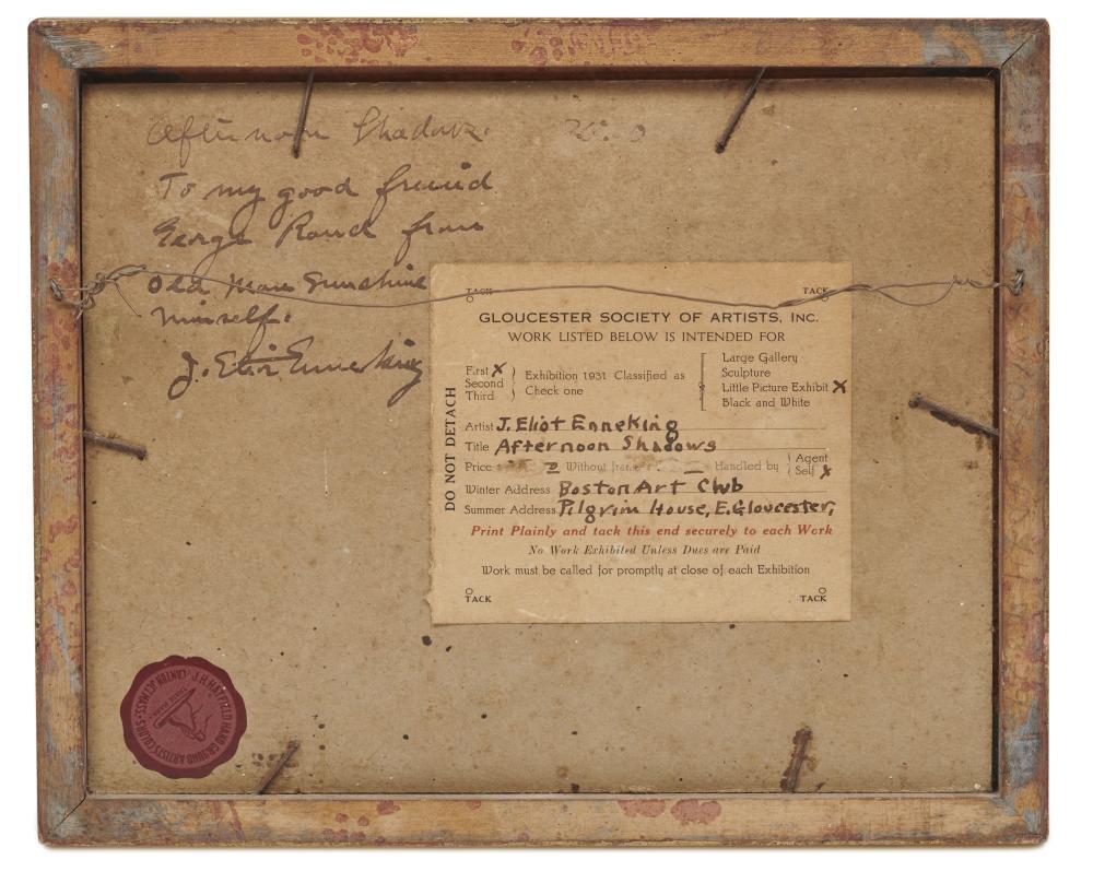 JOSEPH ELIOT ENNEKING, (American, 1881-1942), Afternoon Shadows, oil on board, 8 x 10 in., frame: 9 1/4 x 11 1/4 in.